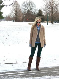 Snowy winter day outfit. Pale peacoat with sparkly statement