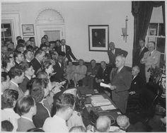 President Truman announces Japan's surrender August 14, 1945. (National Archives Identifier: 520054).