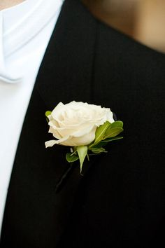 Classic white rose boutonniere for groom, best man, dad, Gage, and (dave).