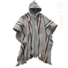 Mens Hooded silver gray poncho made in handloom, Bolivia alpaca wool, warm