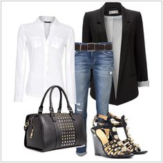 CHATA'S DAILY TIP: Dress up your denims with a classic black jacket and white shirt to create a Casual-Smart ensemble that is perfect for Casual-Fridays at the office. Opt for a darker, smarter denim if you work in a more corporate environment. Accessories in studded black leather will add a trendy touch to your outfit. COPY CREDIT: Chata Romano Image Consultant, Marlise du Plessis IMAGE CREDIT: Pinterest #chataromano #imageconsultant #colour #style #fashion