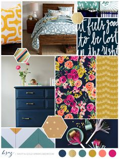 BSaz Creates | Navy  Gold Spring Bedroom | Inspiration Board  What other projects does this spark?