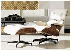 Eames lounger- Love this one because it reminds me of a coconut. Woody texture outside contrasting with the bright, smooth leather... Love it. Tile is fab too.
