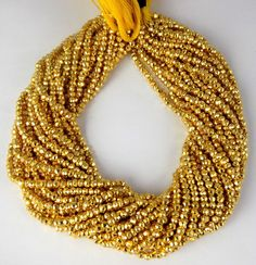 """5 Strand Gold Pyrite Gemstone Faceted Rondelle Beads 3.5-4mm Bead 13.5"""" Long #Faceted"""