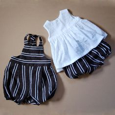 monochrome new baby twins romper and bloomers set
