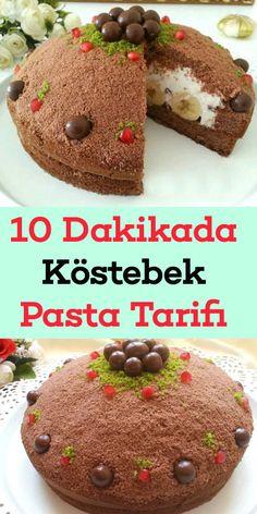 10 Dakikada Pişmeyen Köstebek Pasta Cream Cake, Mole, Confectionery, Amazing Cakes, Yogurt, Waffles, Cheesecake, Deserts, Cherry