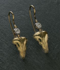 18k yellow gold forged and fabricated old mine cut diamond earrings