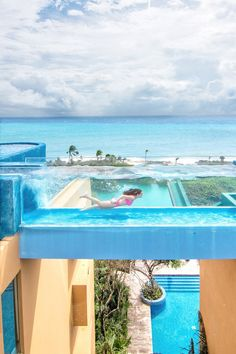 """Hotel Xcaret México won """"The Pool That Rules"""" award in 2020 for its amazing rooftop pool in the adults-only Casa Fuego building. The clear swimming lane and unhindered view of the Caribbean Sea make this pool a perfect Instagram photo spot! 