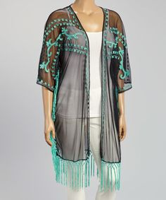 Another great find on #zulily! Black & Mint Sheer Fringe-Trim Open Cardigan - Plus #zulilyfinds