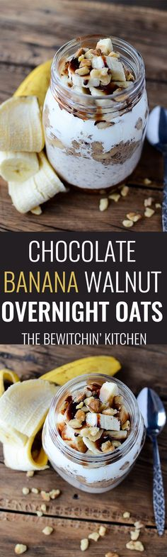 Chocolate Banana Walnut Overnight Oats - This healthy overnight oats recipe has yogurt, chia, bananas, walnuts and chocolate. It's a healthy breakfast with a bit of decadence. An easy meal prep morning treat.   thebewitchinkitchen.com