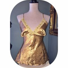 Lingerie gold top vintage Large lingerie looking blouse with lace and sequinsand ties in the the back Vintage Tops Blouses