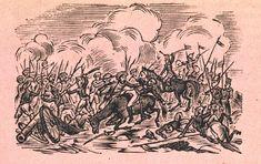 Xilografía alusiva en cabecera de la tercera página de una batalla, los soldados de uno de los bandos llevan turbante.