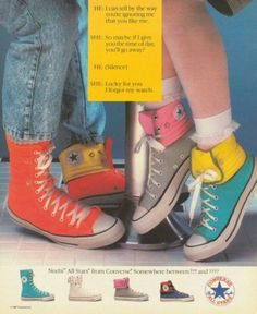 "80s Converse Boots--Notice the stonewashed jeans, the one shoe up and one rolled down, the mix-matched shoe colors, and the ruffled bobby socks with sneakers. This is TOTALLY how I dressed, back in the 80s. (Only, my stonewashed jeans would have been ""tight-rolled""! ~ LOL!)"