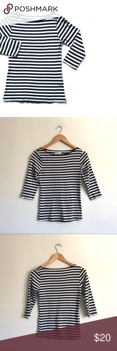 """Zara Organic Cotton Black/White Striped Top Black and white striped organic cotton shirt from Zara!  Super soft top. Made in Portugal. 3/4 Sleeves. Very good condition. Lots of stretch.   Length: 22.5"""" Bust: 30"""" Sleeve: 14.25"""" Zara Tops"""