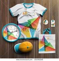 White creative promotional souvenirs design for corporate identity with color triangles. Stationery set - stock vector