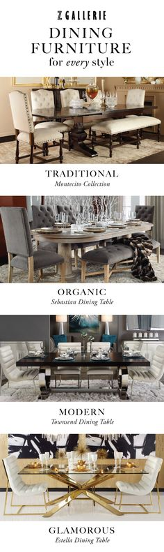Find dining furniture that fits your unique style and save 15% through 9/28/2015 in our stores and online at zgallerie.com with promo code DINE15.