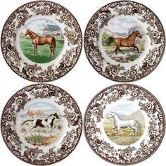 The grace and beauty of the classic hunting companion, the horse, graces the plates in the Spode Woodland Horses collection. Equestrian Decor, Equestrian Style, Equestrian Bedroom, Spode Woodland, Decoupage, Dinnerware Sets, China Patterns, Miniature Furniture, Vintage China