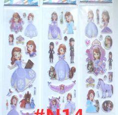 Principessa Sofia Set di 6 Sticker 3D Figurine Adesivi Regalo Compleanno Bambina