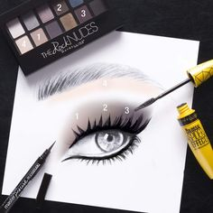 Get the perfect smokey eye with The Rock Nudes palette from Maybelline.  Follow this easy eye chart paired with your Rock Nudes palette to get this look.  Finish the look with a cat eye using Master Precise liner with a super fine tip for that sharp liner.  Top off with Spider Effect Mascara for bold, voluminous lashes.