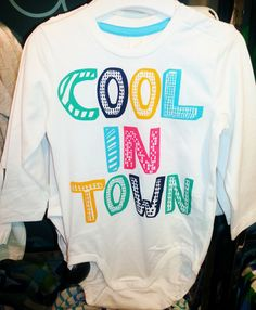 Cool In Town Onesie.   Available sizes: 4M-24M.  100% cotton.  NRs 950.