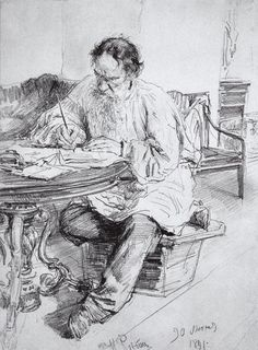Ilya Yefimovich Repin - Lev Nikolayevich Tolstoy working at the round table, (1891).Paper, graphite pencil, 32 x 23 cm.The State Russian Museum, St. Petersburg, Russia.