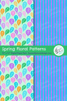 Make a sweet and colorful statement this season with this set of cute Spring inspired floral patterns. By House of Grouse Design, the cutest digital scrapbooking warehouse. Pattern Designs, Retro Pattern, Cute Pattern, Surface Pattern Design, Floral Patterns, Patterns In Nature, Paper Design, Fabric Design, Origami Patterns
