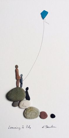 Sharon nowlan original art with pebbles and sea glass More