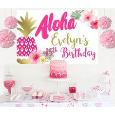 Aloha Birthday Cake Table Backdrop
