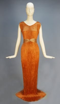 """Delphos"" evening dress by Fortuny, 1930's Click for a giant image. The fabric on these Delphos gowns is gorgeous."