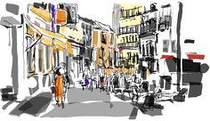 Calle Costanilla de los Angeles desde Plaza de Santo Domingo. Dibujado con Alchemy
