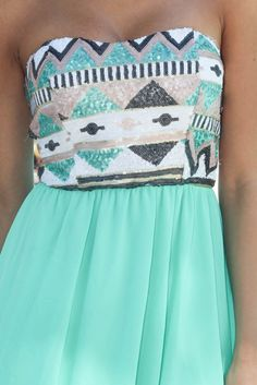 Mint Short Dress With Sequin Top   Sequin Dress – Saved by the Dress