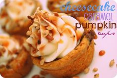cheesecake caramel pumpkin cups - do these look yummy or what? so perfect for fall...these may be making an appearance at our ladies' progressive dinner later this month!