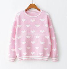 Cute Heart Pattern Knit Sweater