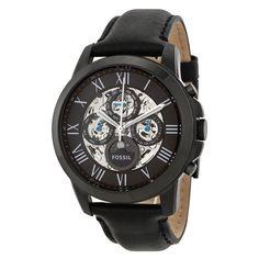 Fossil Grant Multi-Function Black Skeletal Dial Black Leather Mens Watch ME3028