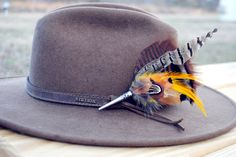 Men's Traditional European Hunting Hat  Feather Pin. $20.00, via Etsy.