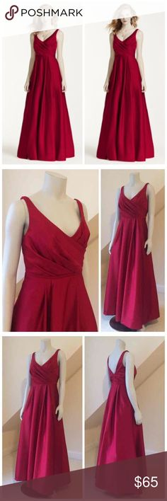 """David's Bridal Ball Gown Bridesmaid Dress David's Bridal Satin Tank Long Ball Gown Bridesmaid Dress...Apple Red...Excellent Condition!...A modern approach to the classic ball gown, this satin bridesmaid dress is perfect for formal weddings, thanks to the structured pleated bodice and fuller skirt. An added bonus: pockets for storing lipstick or tissues!...Polyester...Back zipper...fully lined...Professionally Dry clean...Imported...Length 56""""...Armpit to armpit 17"""" flat...high waist approx…"""
