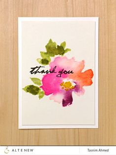 Beautiful Thank You card made using the Warecolor Wonders stamp range from Altenew!