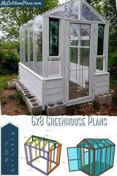 Diy Greenhouse Plans, Backyard Greenhouse, 6x8 Greenhouse, Backyard Landscaping, Outdoor Projects, Garden Projects, Wooden Greenhouses, Ideas Para Organizar, Biarritz