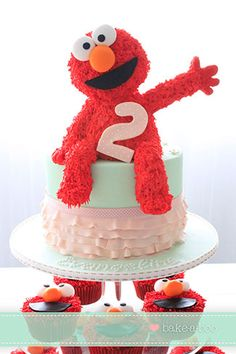 Adorable ELMO cake by Bakeaboo Cakes & Cupcakes