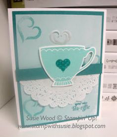 Stampin' Up!- It is a cute cup using the new set- 'A Nice Cuppa' and coordinating Cups & Kettle Framelits!