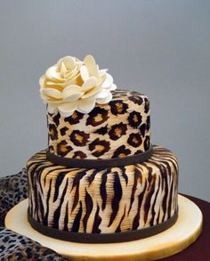 leopard and tiger print cake... Wow
