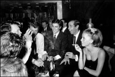Johnny Hallyday, Alain Delon, Roger Vadim and Catherine Deneuve, 1962.