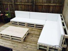 modèle salon de jardin en palette | Pallet sofa tables, Pallet ...