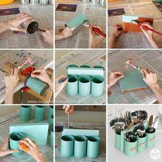DIY Cutlery Holder - #diy - As latas têm uma tendência a enferrujar, por isso elas devem ser preparadas assim que usadas. Lave bem e aplique duas demãos de primer para metal, que você compra em qualquer loja de material de artesanato. Depois disso você pode guardar para seus projetos.