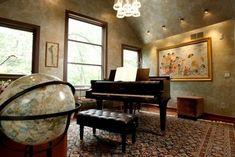 piano room. Chandelier