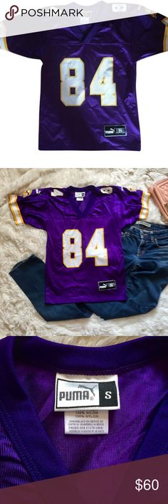 22a62815e07 Puma NFL Vikings Jersey Randy Moss 84 Small 100% authentic NFL apparel by  Puma purple