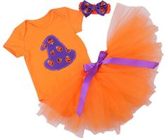 CAKYE Baby Girl Halloween Costumes Infant Pumpkin Tutu Dress Headband 3PCs (Large (9-12 months) Orange)