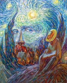 Portraits by Oleg Shuplyak are special because they are very clever optical illu. - Portraits by Oleg Shuplyak are special because they are very clever optical illusions. Optical Illusion Paintings, Optical Illusions, Art Optical, Vincent Van Gogh, Van Gogh Pinturas, Van Gogh Art, Van Gogh Paintings, Office Art, Claude Monet
