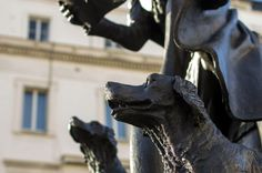 The 'Talbot dogs' who sit at the feet of the statue of the 1st Duke of Westminster, in London's Belgravia