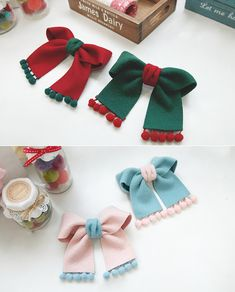 (DIY세트_BK_231)방울 모직 리본핀 Ribbon Hair Bows, Diy Hair Bows, Bow Hair Clips, Diy Hair Accessories, Handmade Accessories, Diy Ribbon Flowers, Bow Template, Christmas Hair Bows, Making Hair Bows